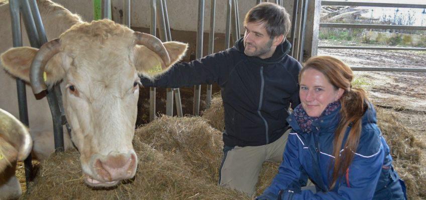 Julia Anthe und Marten Hoppe bei ihrer Lieblingskuh Caline